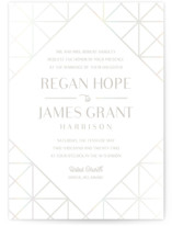 This is a white gloss press wedding invitation by Meggy Masters called Brilliant Cut with gloss-press printing on signature in standard.