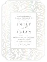 This is a white gloss press wedding invitation by Melinda Denison called Rose Box with gloss-press printing on signature in standard.