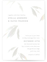 This is a white gloss press wedding invitation by Robert and Stella called Gilded Woods with gloss-press printing on signature in standard.