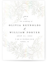 This is a white gloss press wedding invitation by Hannah Williams called Olivia with gloss-press printing on signature in standard.