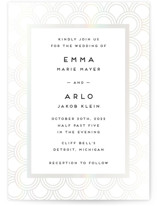 This is a white gloss press wedding invitation by Snow and Ivy called jazz classic with gloss-press printing on signature in standard.