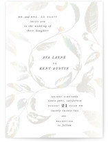 This is a white gloss press wedding invitation by Leah Bisch called Halcyon with gloss-press printing on signature in standard.