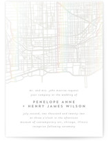 This is a white gloss press wedding invitation by Erin Deegan called Chicago with gloss-press printing on signature in standard.