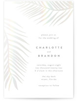 This is a white gloss press wedding invitation by Pixel and Hank called Palm Vibes with gloss-press printing on signature in standard.