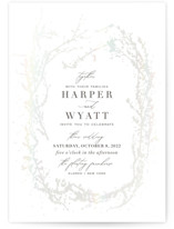 This is a white gloss press wedding invitation by Robin Ott called enchanted entanglement with gloss-press printing on signature in standard.