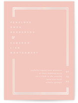 This is a pink gloss press wedding invitation by chocomocacino called Cassis with gloss-press printing on signature in standard.