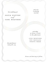 This is a white gloss press wedding invitation by Roxanne Fay called gloss rings with gloss-press printing on signature in standard.