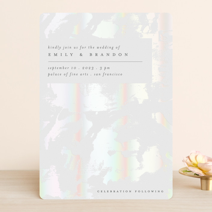 """shell"" - Modern Gloss-press® Wedding Invitation in Cloud by Liz Conley."