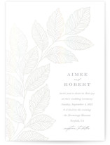 This is a grey gloss press wedding invitation by Brandy Folse called Flourishing Leaves with gloss-press printing on signature in standard.