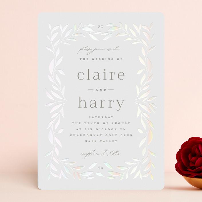 """Clarity"" - Gloss-press® Wedding Invitation in Cloud by Ana Sharpe."