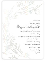 This is a white gloss press wedding invitation by Kimberly FitzSimons called Daydream with gloss-press printing on signature in standard.