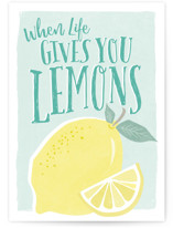 This is a blue get well soon card by Karidy Walker called Squeezing Lemons with standard printing on signature in greeting cards.