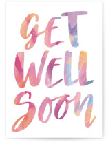 This is a pink get well soon card by Hooray Creative called Get Well Soon with standard printing on signature in greeting cards.