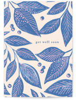 This is a blue get well soon card by Alethea and Ruth called Painted Texture Leaves with standard printing on signature in greeting cards.