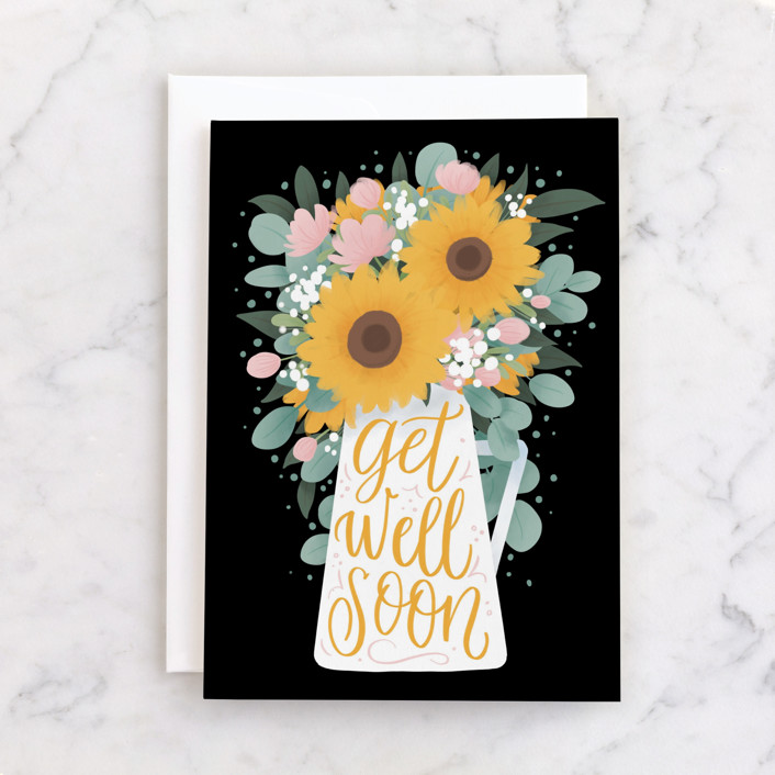 """""""Sunflower Bouquet"""" - Individual Get Well Greeting Cards in Sunshine by Shannon Chen."""