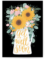 This is a yellow get well soon card by Shannon Chen called Sunflower Bouquet with standard printing on signature in greeting cards.