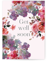 This is a pink get well soon card by Lori Wemple called Romance with standard printing on signature in greeting cards.