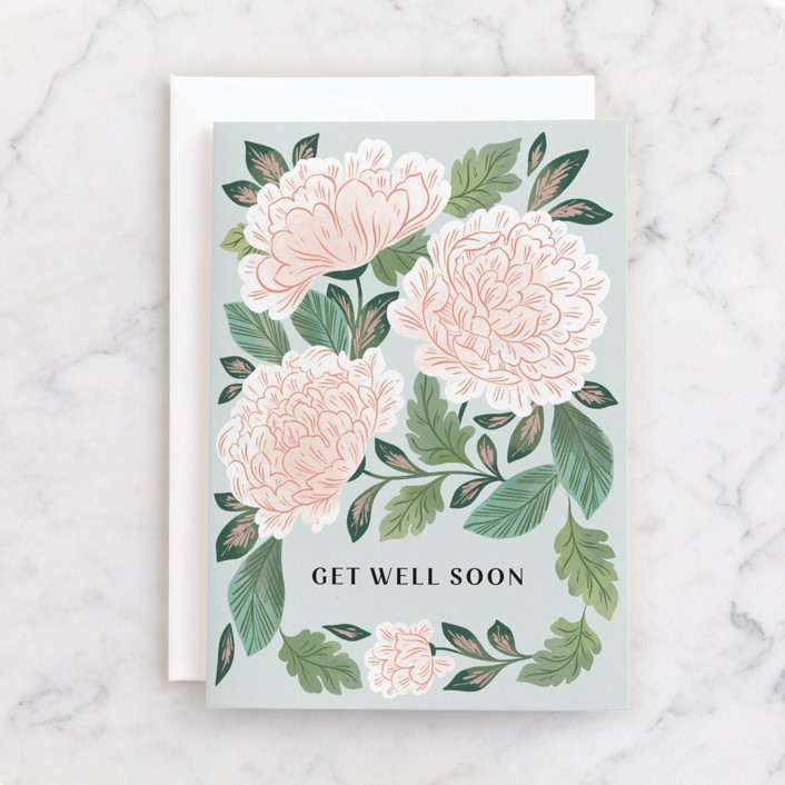 """""""Enchantment"""" - Individual Get Well Greeting Cards in Minty by Paper Raven Co.."""