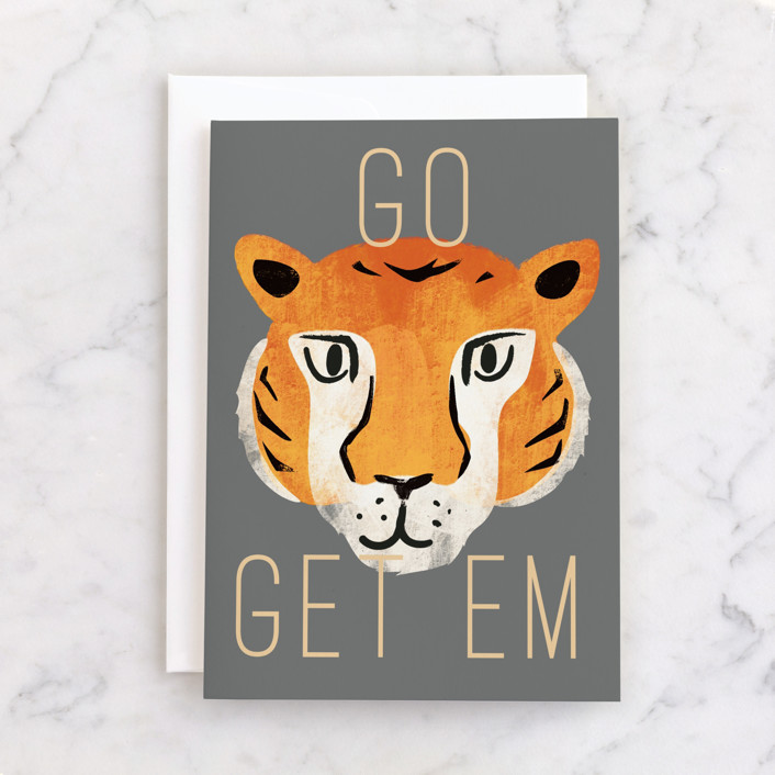 """go get em"" - Individual Get Well Greeting Cards in Tiger by Rebecca Durflinger."