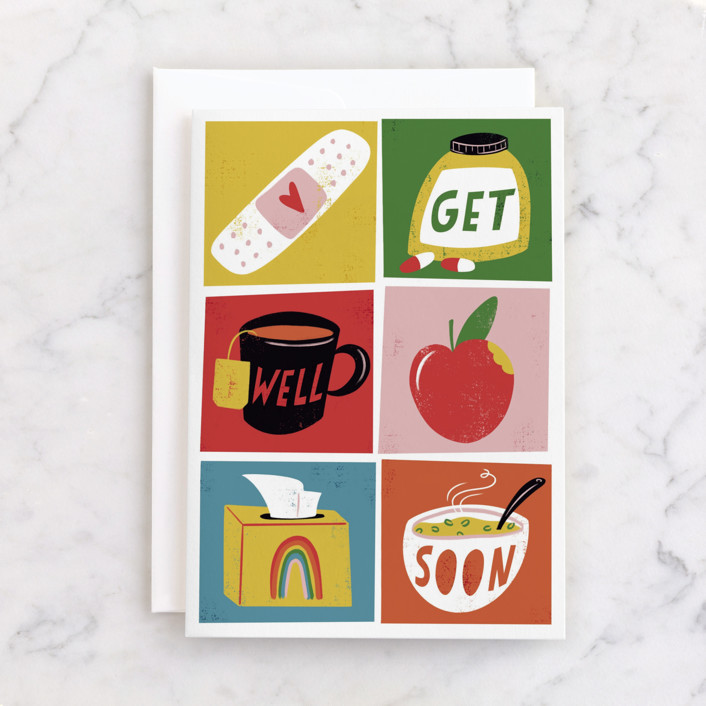 """""""Rainbow Boxes"""" - Individual Get Well Greeting Cards in Pearl by Grae."""