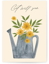 This is a yellow get well soon card by Marina Onoprienko called Sun Flowers with standard printing on signature in greeting cards.