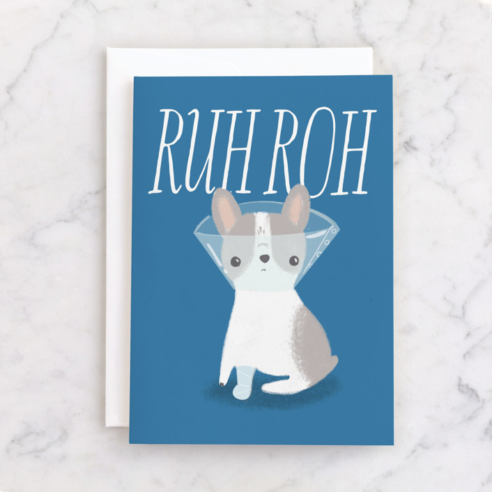 """""""Ruh Roh"""" - Individual Get Well Greeting Cards in Pond by Itsy Belle Studio."""