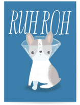 This is a blue get well soon card by Itsy Belle Studio called Ruh Roh with standard printing on signature in greeting cards.