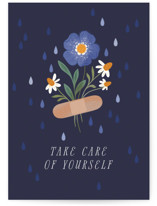This is a blue get well soon card by Paper Raven Co. called Love Bandaid with standard printing on signature in greeting cards.