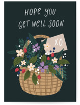 This is a green get well soon card by Yuliya Evseeva called Basket of flowers with standard printing on signature in greeting cards.
