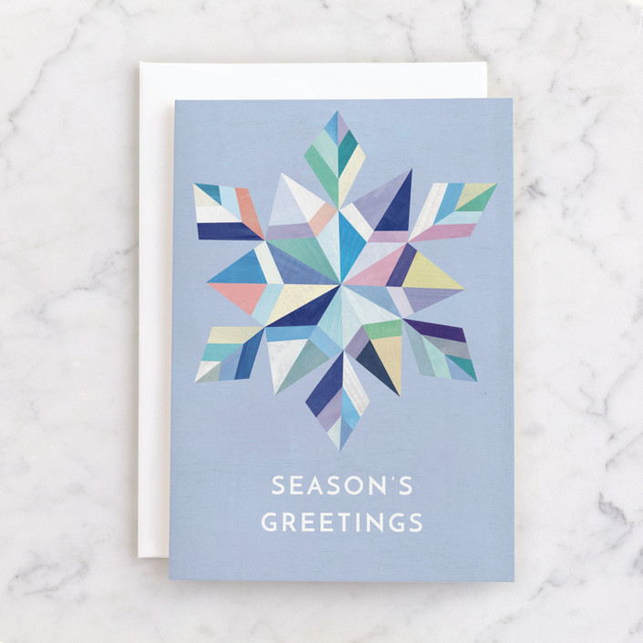 """""""Geometric Snowflake"""" - Individual Holiday Greeting Cards in Navy by melanie mikecz."""