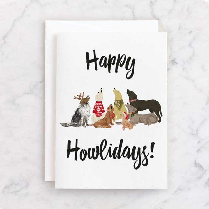 """""""Howliday Dog Pack"""" - Individual Holiday Greeting Cards in Dalmation Black by Shiny Penny Studio."""