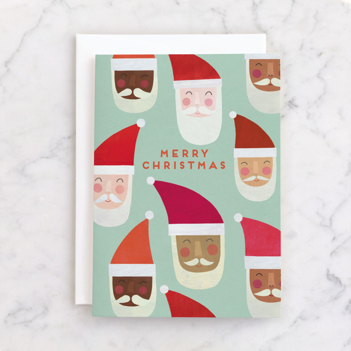 """""""Multi-Cultural Santas"""" - Individual Holiday Greeting Cards in Mint by melanie mikecz."""