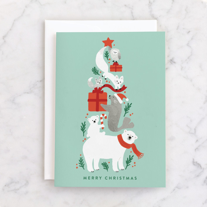 """""""Stacked arctic animals"""" - Individual Holiday Greeting Cards in Colorful by Jennifer Wick."""