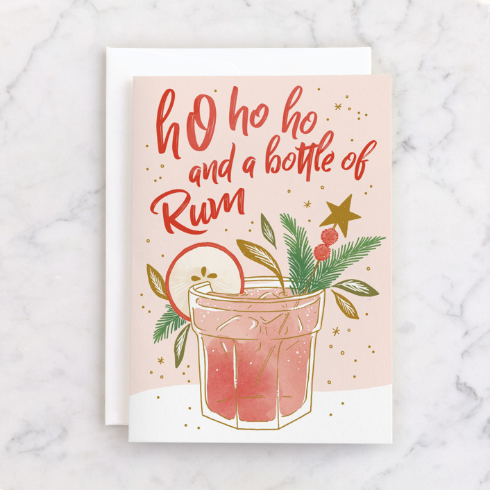 """Bottle of Rum"" - Individual Holiday Greeting Cards in Peach by Paper Raven Co.."