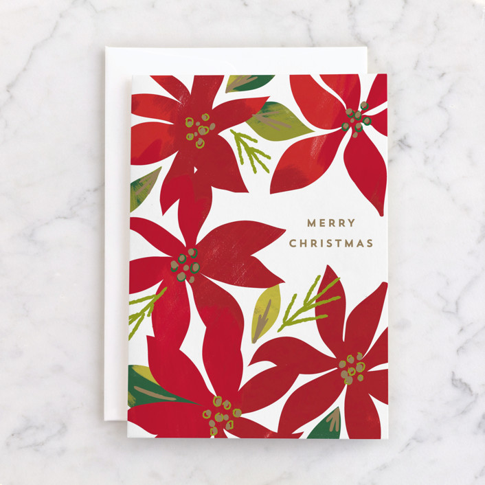"""""""Christmas Blooms"""" - Individual Holiday Greeting Cards in Poinsettia by Rebecca Durflinger."""