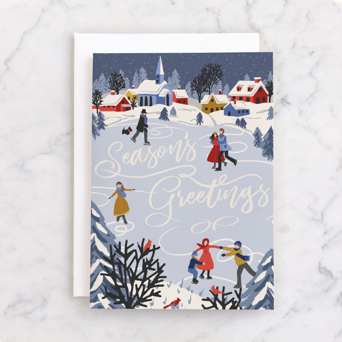 """""""Winter Skate"""" - Individual Holiday Greeting Cards in Ice by Meggy Masters."""