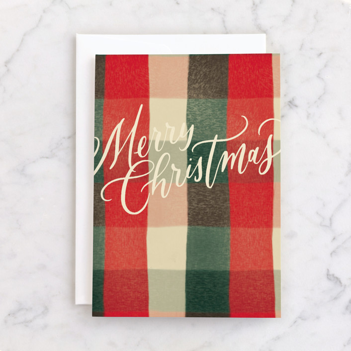 """Modern Merry Christmas"" - Individual Holiday Greeting Cards in Holly by Wildfield Paper Co."