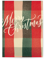 This is a red greeting card by Annie Mertlich called Modern Merry Christmas with standard printing on signature in greeting cards.
