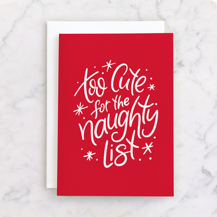 """Too cute for the naughty list"" - Individual Holiday Greeting Cards in Berry by Lea Delaveris."