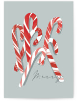 This is a green greeting card by Rebecca Durflinger called merry candy canes with standard printing on signature in greeting cards.