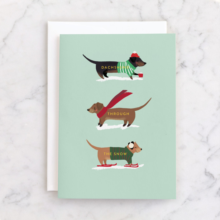"""""""Dachshund Through the Snows"""" - Individual Holiday Greeting Cards in Mint by Itsy Belle Studio."""