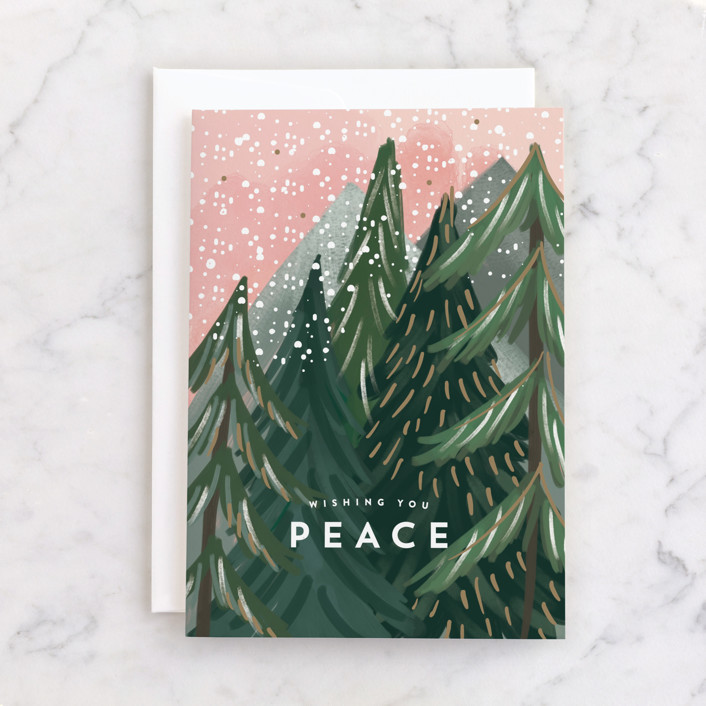 """""""Treetop"""" - Individual Holiday Greeting Cards in Candy by Rebecca Durflinger."""