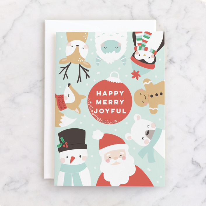 """""""happy merry joy"""" - Individual Holiday Greeting Cards in Frost by peetie design."""