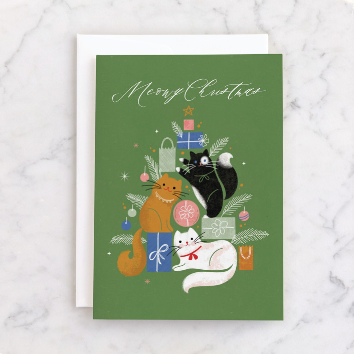 """Christmas Kitties"" - Individual Holiday Greeting Cards in Moss by Kristen Smith."