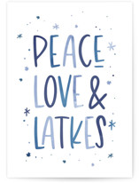 This is a blue greeting card by Laura Bercovich called Peace, Love & Latkes with standard printing on signature in greeting cards.