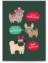 This is a green greeting card by Itsy Belle Studio called Dogs of Christmas with standard printing on signature in greeting cards.