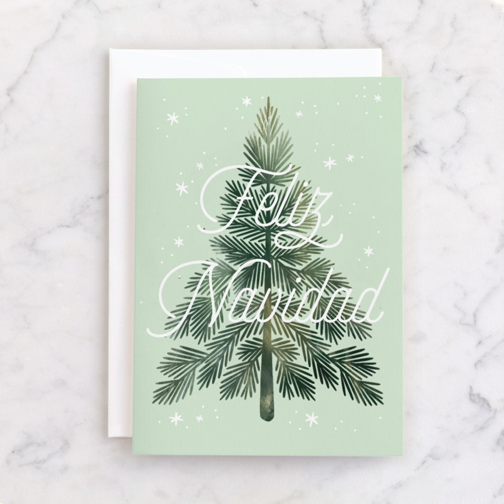 """""""Wintery Tree"""" - Individual Holiday Greeting Cards in Pine by Paper Raven Co.."""