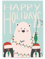 This is a blue greeting card by Lauren Jinhee called North Pole with standard printing on signature in greeting cards.