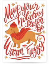 This is a red greeting card by Snow and Ivy called Warm Fuzzy with standard printing on signature in greeting cards.