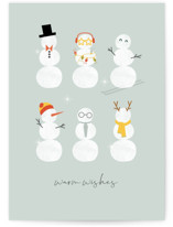 This is a blue greeting card by Corinne Malesic called Frosty friends with standard printing on signature in greeting cards.